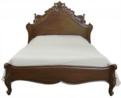 Louis Ornately Carved Versailles Bed in Mahogany